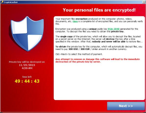 Cryptolocker Main Window