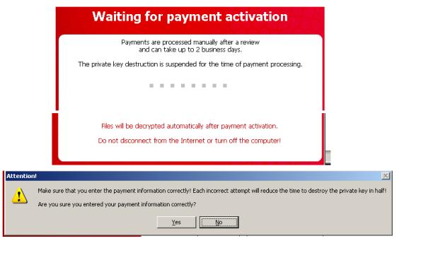 Cryptolocker transaction